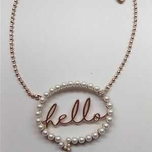 "Betsey Johnson New ""hello"" Pearl Necklace"